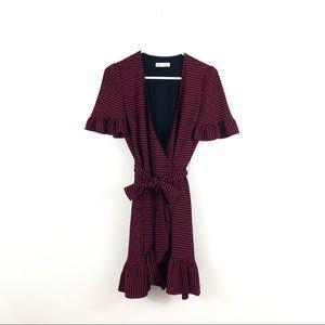 Zara Trafaluc Red Plaid Ruffle V Neck Wrap Dress